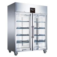 BLIZZARD BR2SSCR Ventilated Gastronorm Glass Double Door Refrigerator 1300L