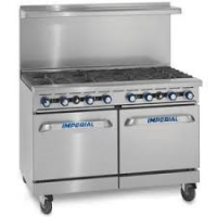 IMPERIAL IR-8 Eight Burner Gas Oven Range 2 Space Saver Ovens