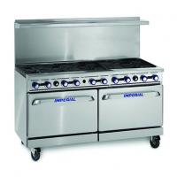 IMPERIAL IR-10 Ten Burner Gas Oven Range Double Oven, Splashback/Shelf