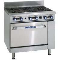 IMPERIAL 914mm (w) 6 Burner Gas Oven Range with Stub Back Flue IR-6