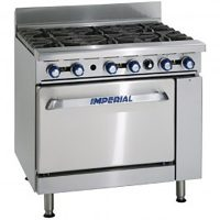 IMPERIAL IR-6 Six Burner Gas Oven Range with Stub Back Flue