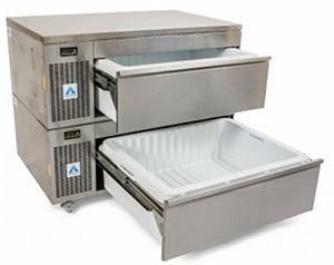 ADANDE Under Counter Prep Station, Side Engine, Double Drawer Unit VCS2CW
