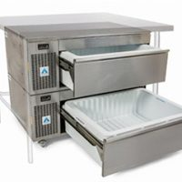ADANDE Under Counter Prep Station, Side Engine, Double Drawer Unit VCS2SCT