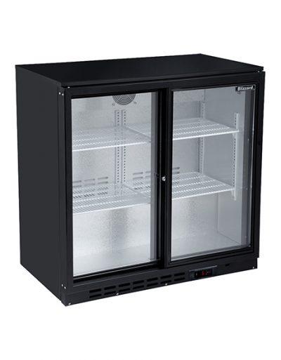 BLIZZARD LOWBAR2SL Double Door Low Height Bar Bottle Cooler - Black