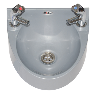 Mechline BaSix WS1-TX-BD Hand Wash Station with pair of AquaTechnix DOME taps