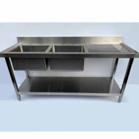 NOWAH Stainless Steel Double Bowl Sink with Right Hand Drainer 1800mm