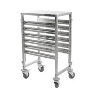 iMettos 6 Shelves Racking Trolley with Work Table Top for GN Pan 1/1