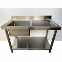 NOWAH Stainless Steel 1200mm Single Bowl Sink with Left Hand Drainer