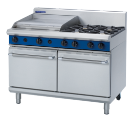 Blue Seal G528B 1200mm 4 Burner Gas Range with Double Static Oven