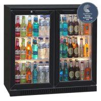 BLIZZARD Black Double Door Bar Bottle Cooler BAR2