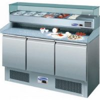 BLIZZARD Compact Gastronorm Pizza Prep Counter with UpStand BCC3PIZZA-ECO