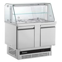 INOMAK 2 Door Saladette with Display Case BSV7300