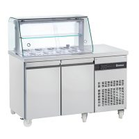 INOMAK 2 Door Saladette with Display Case ZQV99