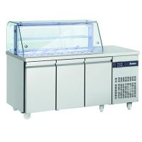 INOMAK 3 Door Saladette with Display Case ZQV999