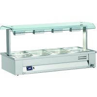 INOMAK Counter Top Bain Marie with Double Sneeze Guard MSV67