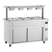 INOMAK Gastronorm Bain Marie with Double Sneeze Guard & Ambient Base MQV711