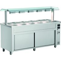 INOMAK Gastronorm Bain Marie with Double Sneeze Guard & Ambient Base MQV714