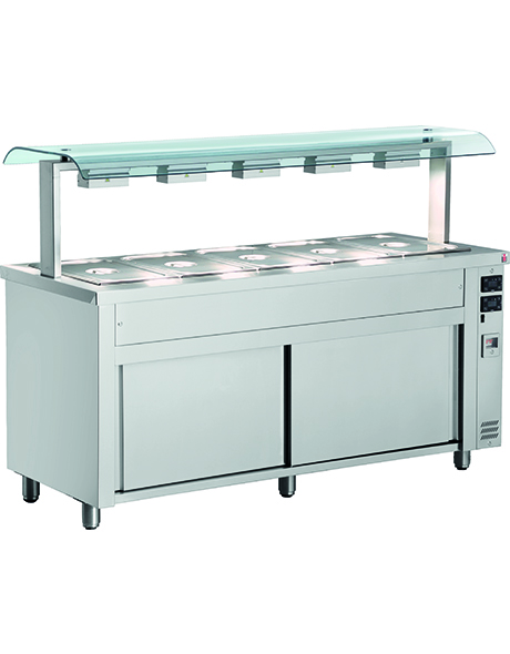 INOMAK Gastronorm Bain Marie with Double Sneeze Guard & Ambient Base MQV718