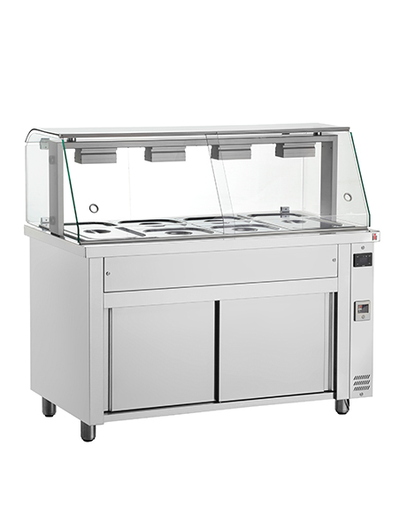 INOMAK Gastronorm Bain Marie with Glass Structure & Ambient Base MFV718