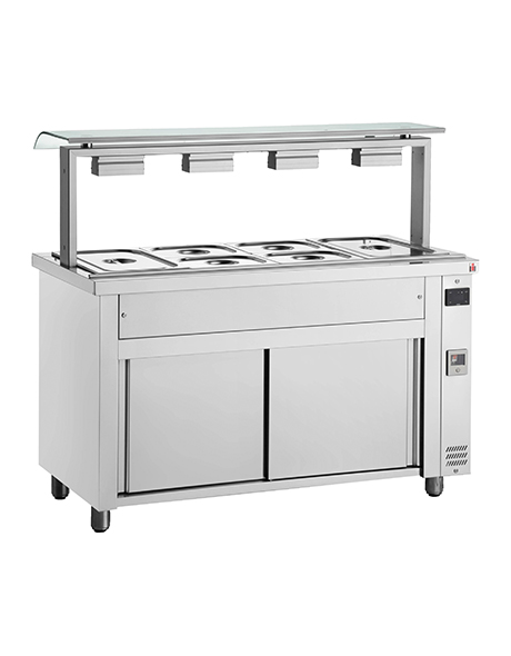INOMAK Gastronorm Bain Marie with Sneeze Guard & Ambient Base MVV711