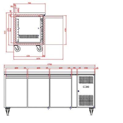 Tefcold 3 Door Gastronorm Counter Freezer CF7310